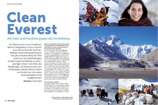 moment by moment 2/2019 Interview-Special Artikel Clean Everest