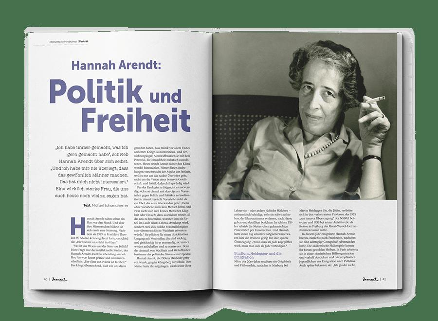 moment by moment 01/2020 Starke Frauen Beitrag Hannah Arendt