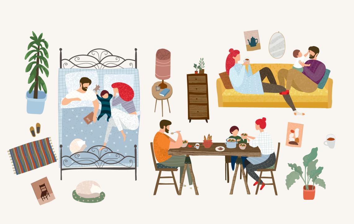 Illustration eines Paares mit Kind am Esstisch, auf der Couch und im Bett