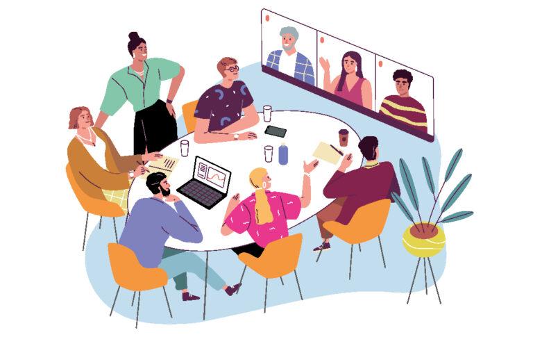 Illustration einer Konferenz in lockerer Atmosphäre. Mehrere Personen sitzen an einem Konferenztisch und unterhalten sich, weitere Personen sind per Videotelefonie zugeschaltet.
