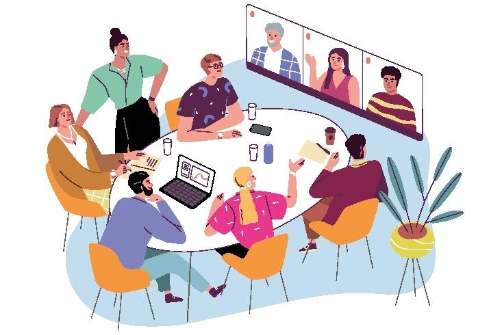 Illustration einer Konferenz in lockerer Atmosphäre. Mehrere Personen sitzen an einem Konferenztisch und unterhalten sich, weitere Personen sind per Videotelefonie zugeschaltet. Link führt zur Leseprobe Wirksames Handeln ohne Verstrickungen.