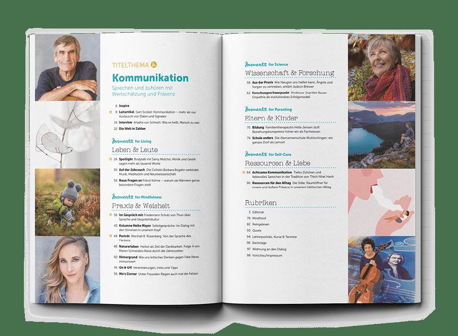 Inhaltsverzeichnis moment by moment Herbstausgabe 3/2021 Kommunikation
